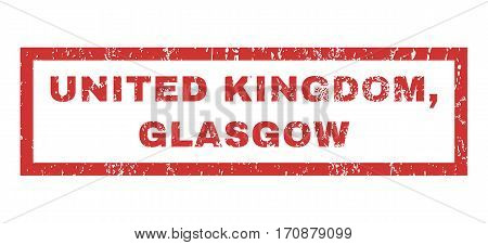 United Kingdom, Glasgow text rubber seal stamp watermark. Tag inside rectangular banner with grunge design and dirty texture. Horizontal vector red ink emblem on a white background.