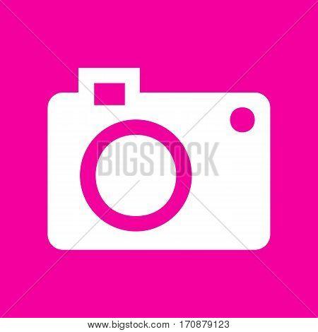 Digital camera sign. White icon at magenta background.