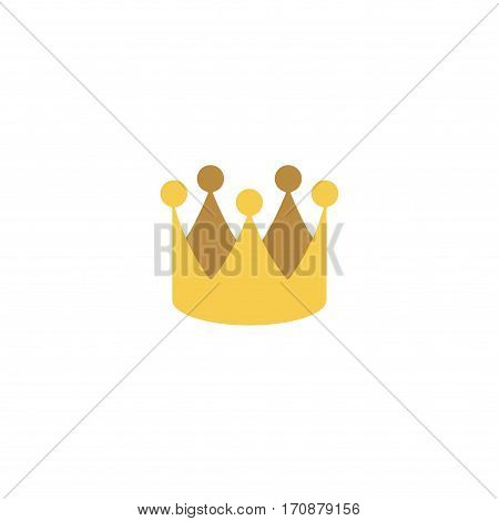Abstract royal crown flat design vector icon. Flat style color logo. Golden crown of a king illustration