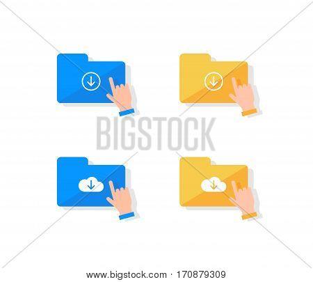 Cloud storage icon set. Hand pressing on folder icon to download files flat design illustration.