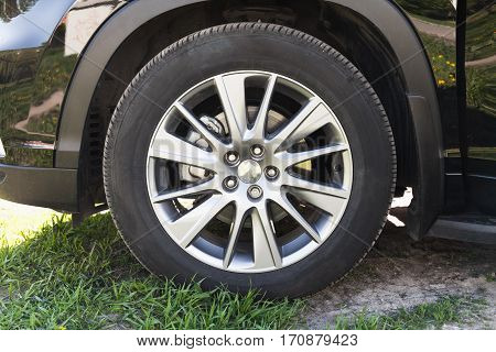 Modern Unidentifiable Black Suv Car Wheel