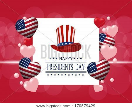 Presidents' Day. Greeting card. The inscription with the wishes of happiness. Stylized hat and hearts in the colors of the flag. vector illustration