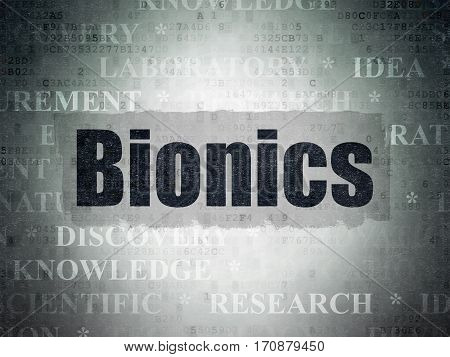 Science concept: Painted black text Bionics on Digital Data Paper background with   Tag Cloud