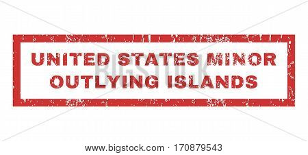 United States Minor Outlying Islands text rubber seal stamp watermark. Caption inside rectangular banner with grunge design and dust texture. Horizontal vector red ink emblem on a white background.