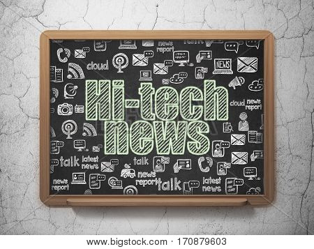 News concept: Chalk Green text Hi-tech News on School board background with  Hand Drawn News Icons, 3D Rendering
