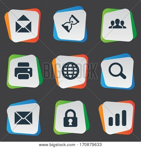 Set Of 9 Simple Application Icons. Can Be Found Such Elements As Community, Lock, Message And Other.