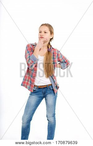 young cheerful anxious teenage girl on white background