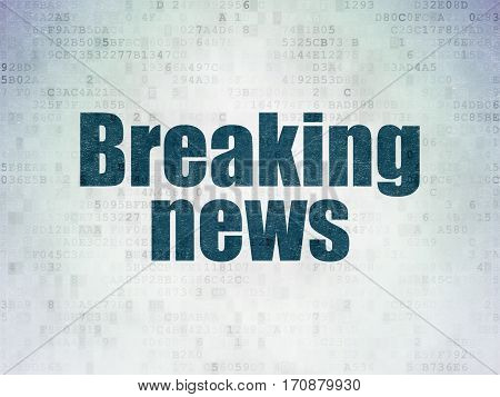 News concept: Painted blue word Breaking News on Digital Data Paper background