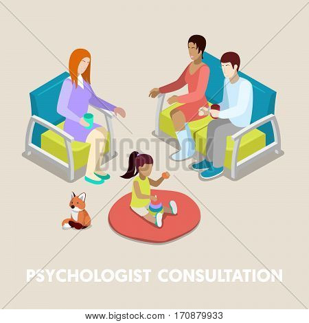 Isometric Psychologist Consultation. Family on Psychotherapy. Vector 3d flat illustration
