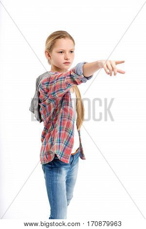 young strict teenage girl point hand on white background