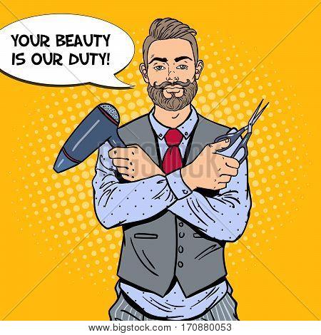 Pop Art Bearded Barber with Scissors and Hairdryer. Vector illustration