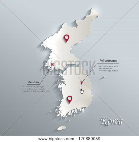 Korea map south north separate blue white card paper 3D vector
