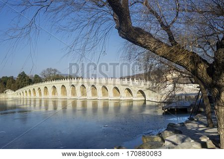 Beautiful landscape of imperial garden with stone bridge at the Summer Palace Beijing