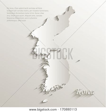 Korea map south north separate card paper 3D natural vector