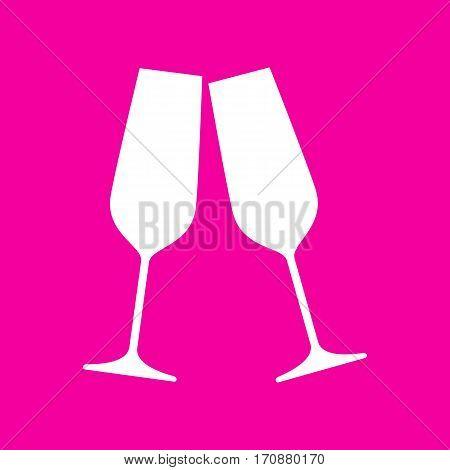 Sparkling champagne glasses. White icon at magenta background.