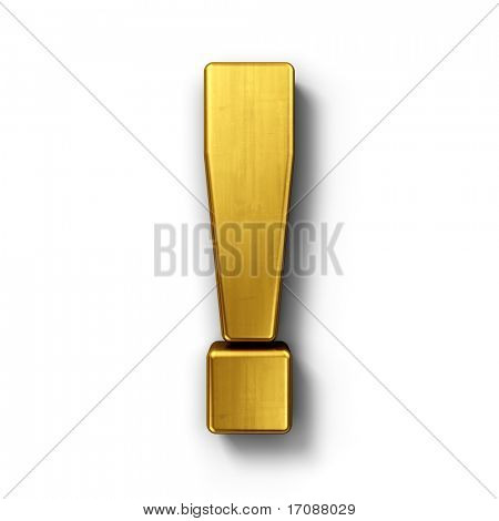 3d rendering of the exclamation point sign in gold on a white isolated background.