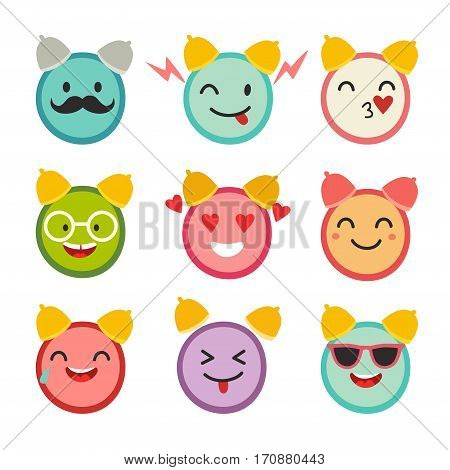 Emoticons happy alarm clock vector set. Cute funny stickers. Emoji flat cartoon style. Isolated on white background