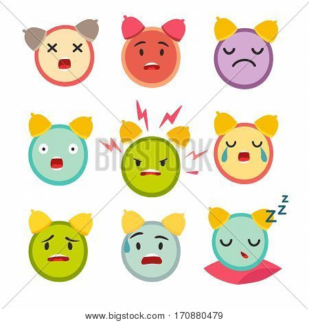 Emoticons angry alarm clock vector set. Cute funny stickers. Emoji flat cartoon style. Isolated on white background