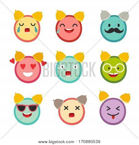 Emoticons alarm clock vector set. Cute funny stickers. Emoji flat cartoon style. Isolated on white background
