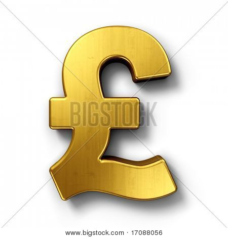 3d rendering of the pound sign in gold on a white isolated background.