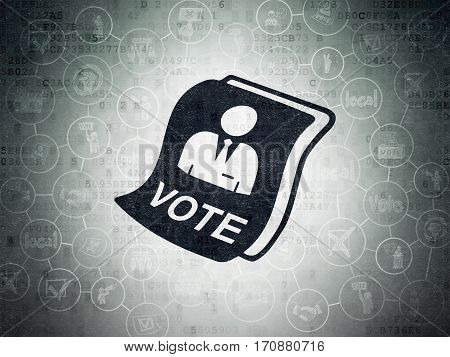 Political concept: Painted black Ballot icon on Digital Data Paper background with Scheme Of Hand Drawn Politics Icons