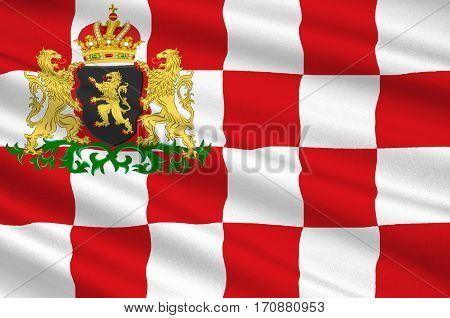 Flag of North Brabant is a province in the south of the Netherlands. 3d illustration