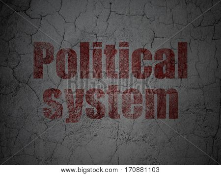 Political concept: Red Political System on grunge textured concrete wall background