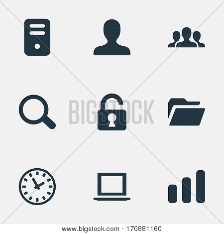 Set Of 9 Simple Apps Icons. Can Be Found Such Elements As Computer Case, Open Padlock, Dossier And Other.