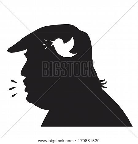 Donald Trump Silhouette and Social Media Icon. Vector Illustration. New York, February 13, 2017