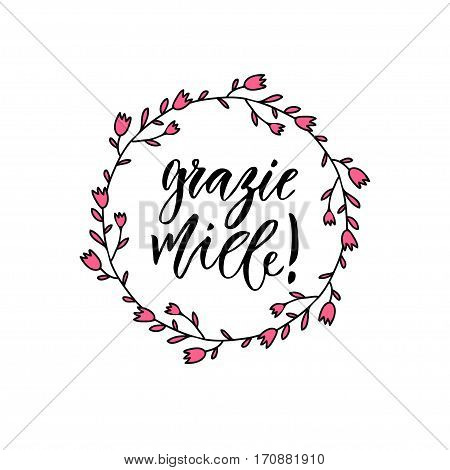 Grazie miele thank you very much in Italian. Inspirational Lettering poster or banner. Vector hand lettering.