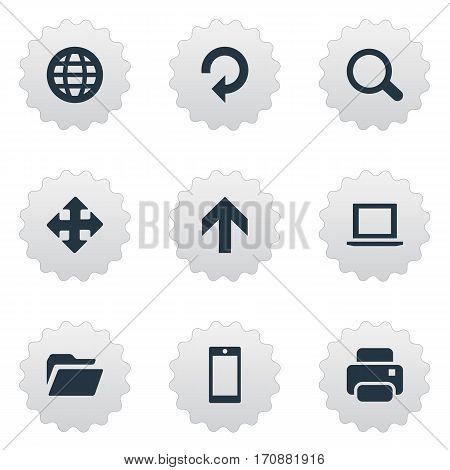 Set Of 9 Simple Apps Icons. Can Be Found Such Elements As Printout, Arrows, Refresh And Other.