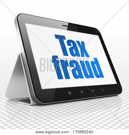 Law concept: Tablet Computer with blue text Tax Fraud on display, 3D rendering