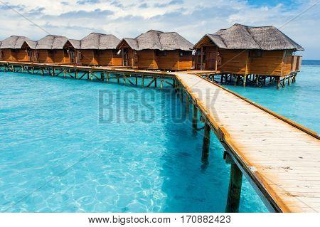 Water Bungalows Resort At Islands. Indian Ocean, Maldives