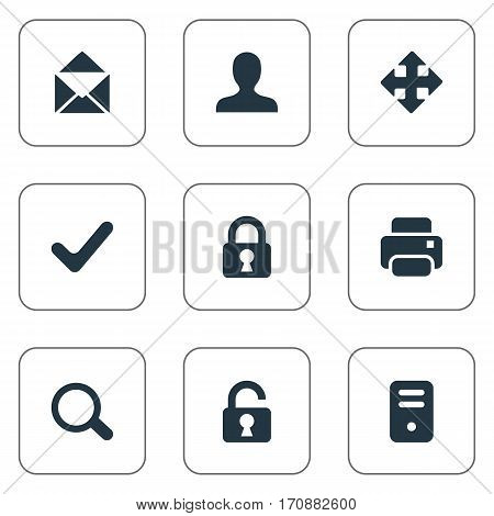 Set Of 9 Simple Apps Icons. Can Be Found Such Elements As Envelope, Lock, Check And Other.