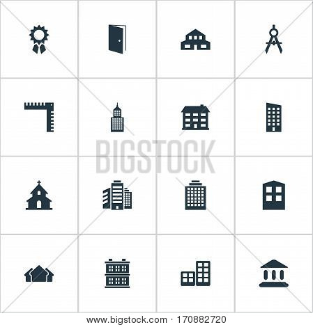 Set Of 16 Simple Architecture Icons. Can Be Found Such Elements As Shelter, Length, School And Other.