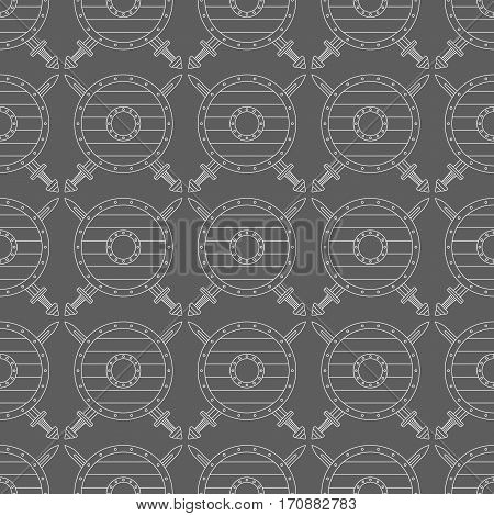 Seamless pattern with viking shields and swords. Can be used for graphic design, textile design or web design.