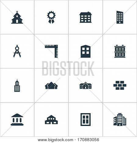 Set Of 16 Simple Structure Icons. Can Be Found Such Elements As Length, Residence, Popish And Other.