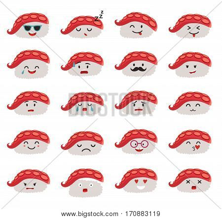 Sashimi emoji vector set. Emoji sushi with faces icons. Sushi roll funny stickers. Food cartoon style. Vector illustration isolated on white background