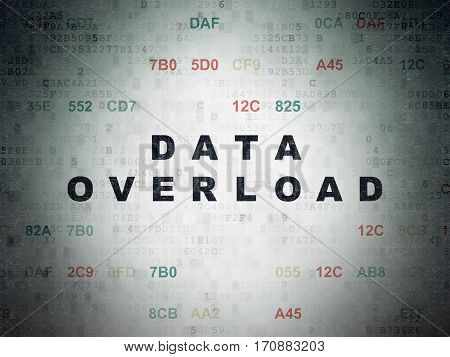 Data concept: Painted black text Data Overload on Digital Data Paper background with Hexadecimal Code