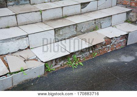 Danger Broken House Steps Outdoor. Damaged Stair Case Need to Repair.