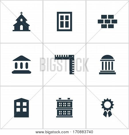 Set Of 9 Simple Construction Icons. Can Be Found Such Elements As Popish, Length, Block And Other.