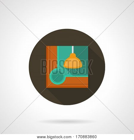 Corner of billiard table with wooden boards and yellow lamp. Elements of pool game equipment, billiards club. Round flat design vector icon.