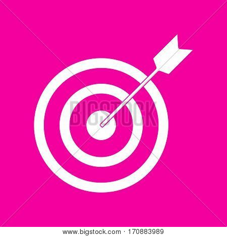 Target with dart. White icon at magenta background.