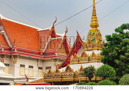 Wat Chana Songkhram is the famous Buddhist temple in Bangkok, Thailand. It is located near popular street Khaosan road and district for tourists.