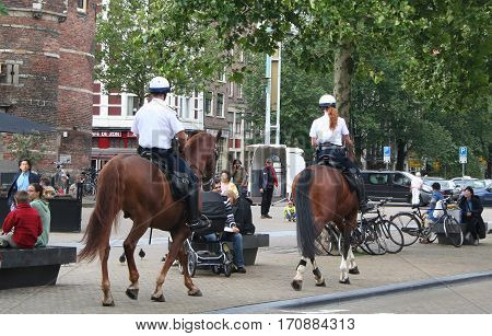 Mounted Police In Amsterdam