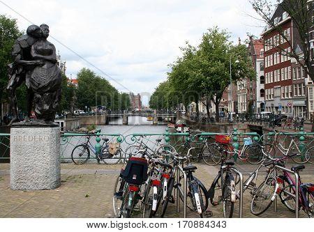Bikes Parked On Bridge Over Gelderse Kade