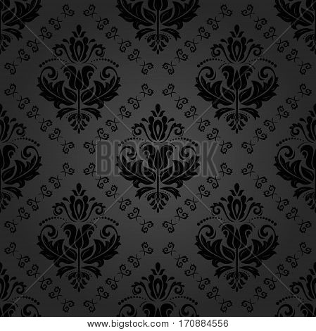 Elegant classic dark pattern. Seamless abstract background with repeating elements