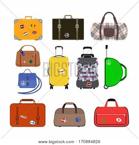 Travel tourism fashion baggage and vacation handle leather big packing briefcase. Voyage destination bag on wheels. Journey suitcase departure vector.