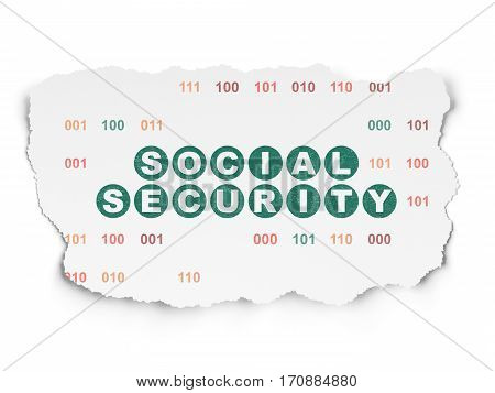 Privacy concept: Painted green text Social Security on Torn Paper background with  Binary Code