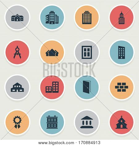 Set Of 16 Simple Construction Icons. Can Be Found Such Elements As Glazing, Structure, Booth And Other.